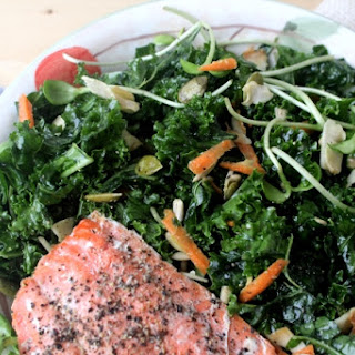 Kale Salad with Grilled Salmon and Tangy Miso Dressing