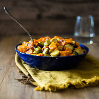 Paleo Maple Roasted Brussels Sprouts, Sweet Potatoes and Bacon Recipe