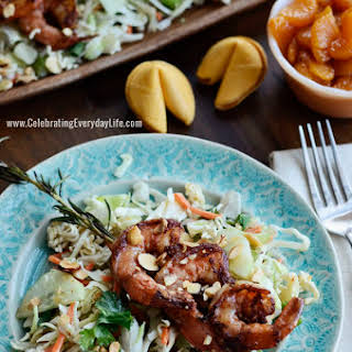 Asian Salad Recipe with Grilled Shrimp on Rosemary Skewers.