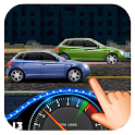 Racing car on street icon