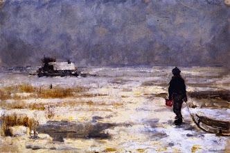 """Photo: Franz Marc, """"Ragazzo con la slitta in un paesaggio invernale"""" (1902)"""