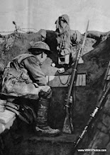 Photo: A Trench Sentry On The Western Front With A Periscope Camouflaged In Sacking