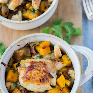 Chicken Thighs with Caramelized Onion, Butternut Squash and Bacon