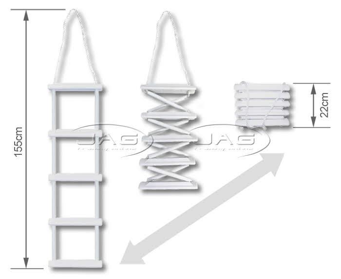 5 Step Folding Rope Ladder Boat Marine Yacht Gunwale