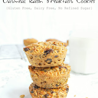 Oatmeal Raisin Breakfast Cookies {Gluten & Dairy free, No refined sugars}