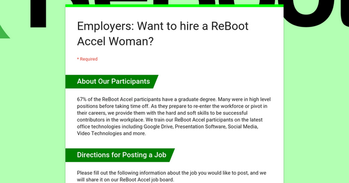 Employers: Want to hire a ReBoot Accel Woman?
