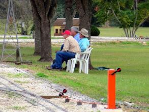 Photo: Gary Brothers (no hat), Bob Barnett (red cap), and Ed Rains       2013-1116 RPW