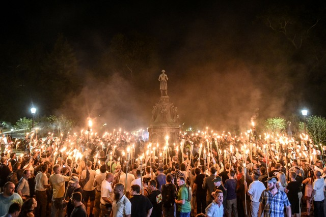 White nationalists participate in a torch-lit march on the grounds of the University of Virginia ahead of the Unite the Right Rally in Charlottesville, Virginia on August 11, 2017. File photo