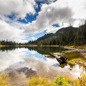 Reflection Lake by Eric Wellman - Landscapes Waterscapes ( clouds, reflection, fall, lake,  )