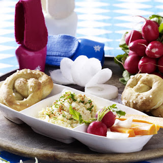 Pretzels and Crudites with Camembert Dip.