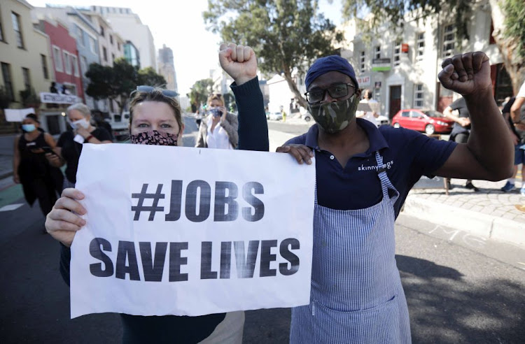 Chefs, waiters, winery workers, hoteliers and tourism operators protest for #JobsSaveLives in Cape Town's CBD on July 22 2020.