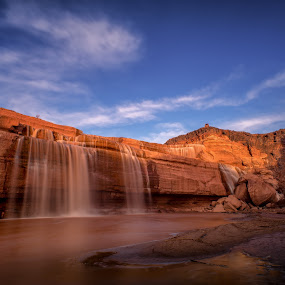 The Bottom of Grand Falls Arizona by Bryan Snider - Landscapes Waterscapes ( navajo, chocolate falls, waterfalls, landmarks, nature, arizona, waterfall )