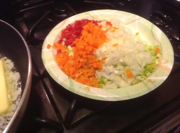 Chop vegetables and set aside till needed.