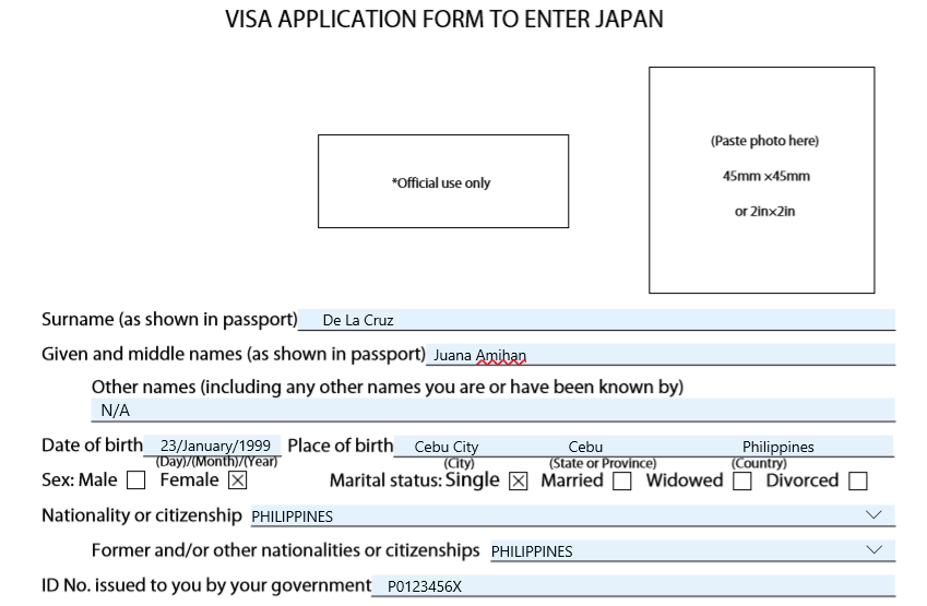 Japan visa application form part 1