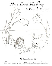 """Photo: Easter Coloring page featuring Ava and the Easter Bunny from """"Ava's Secret Tea Party"""" by Donna J. Shepherd, illustrated by Bella Sinclair."""