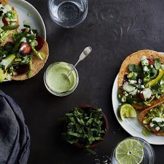Chorizo Tacos with Slaw and Avocado.