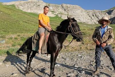 Jörg on a shepherds horse.