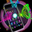 3D Neon Butterfly Theme