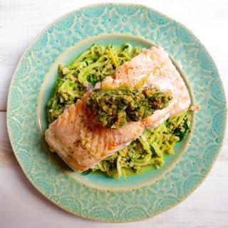 Salmon + Zoodles with Thai Pesto Recipe