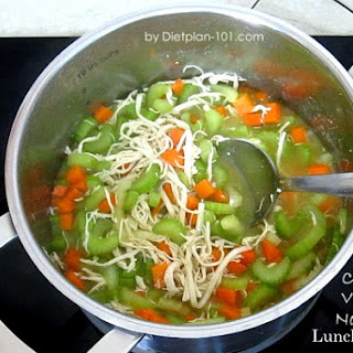 Quick Chicken Veggies Noodle Lunch Soup (for The Zone Diet)