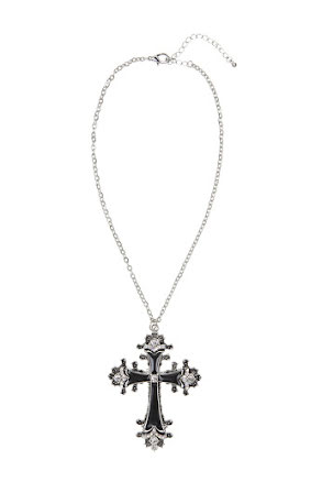 Halsband, kors med strass