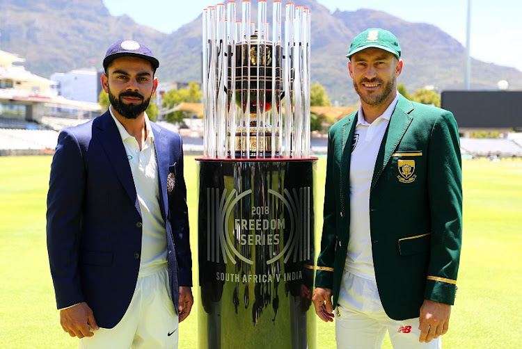 Faf du Plessis, Captain of South Africa (r) and Virat Kohli (captain) of India (l) during the Sunfoil Test Series India Press Conference and Training at Newlands Cricket Ground, Cape Town on 3 January 2018.