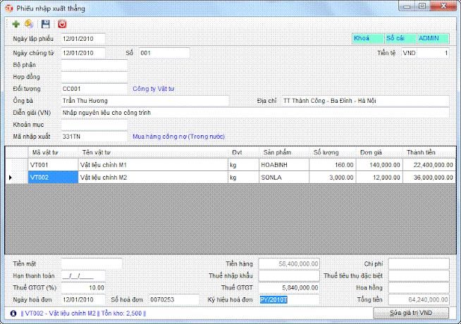 Phiếu nhập xuất thẳng phần mềm kế toán 3tsoft