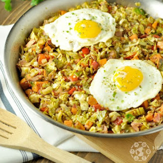 Brussels Sprouts, Sweet Potato, Bacon Hash - Paleo, Low Carb, Gluten Free