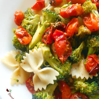 Broccoli Pasta With Roasted Tomatoes.