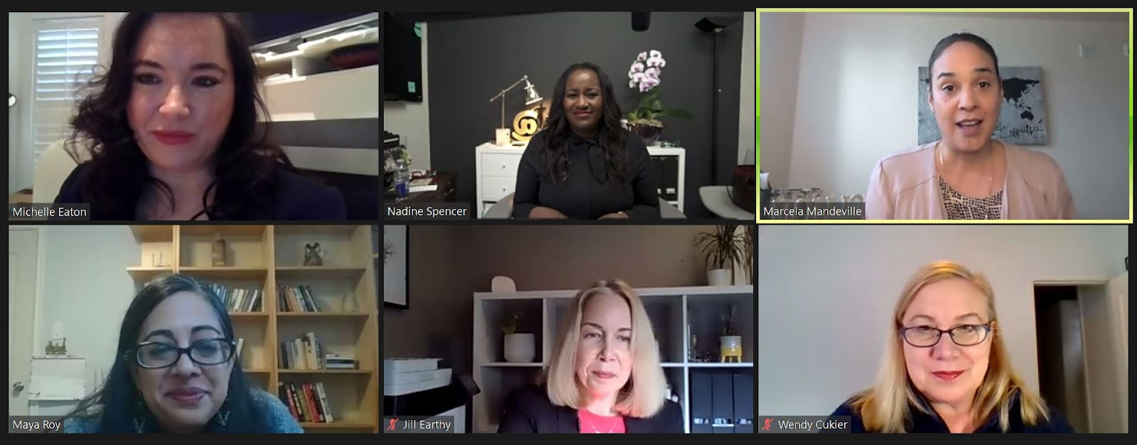 A screenshot of event speakers featuring Michelle Eaton, Nadine Spencer, Marcela Madeville, Maya Roy, Jill Earthy, and Wendy Cukier, with Marcela Madeville speaking.