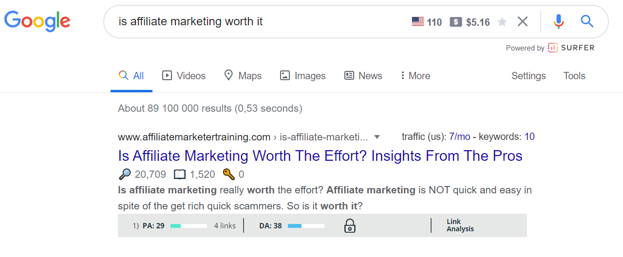 """Google search results for """"is affiliate marketing worth it"""""""
