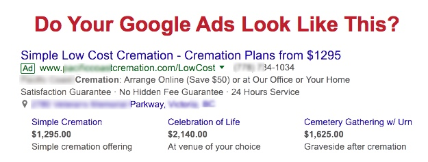 Funeral & Cremation Google AdWords Ads