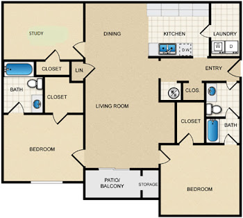 Go to Two Bed, Two Bath with Large Study Floorplan page.