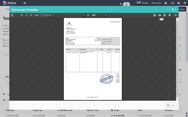 Aliphia Invoice