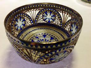 Photo: Plique-à-Jour Enamels by Diane Echnoz Almeyda - Phantoms Bowl - Fine Silver, Plique-à-Jour Enamels - (Piece has open areas with no enamel) - Approximate size 41mm (h) x 68mm (diam) - $4200.00 US