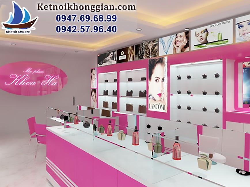 thiết kế cửa hàng mỹ phẩm trẻ trung, thiết kế shop mỹ phẩm sáng tạo