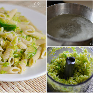 Garlic Penne Pasta with Shredded Brussels Sprouts