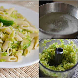 Garlic Penne Pasta with Shredded Brussels Sprouts.