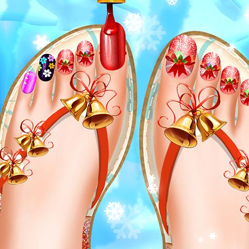 Christmas Toe Nail and Leg Design art Salon