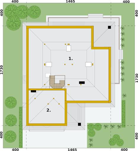 Alexandria projekt domu z bali drewnianych - Rzut strychu