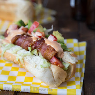 BLT Bacon Wrapped Hot dogs.