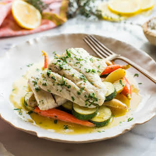 Butter Poached Fish with Vegetables.