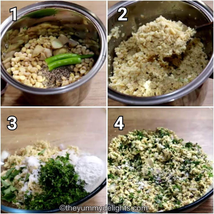step by step collage of making the vada mixture by combining coarsely ground chana dal with onion, coriander leaves, curry leaves, salt & rice flour