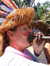 Photo: Christine blows hard!