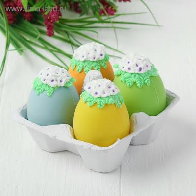 Яйца для декорирования «Цветочки с листочками», набор 4 шт, размер 1 шт: 6×4 см