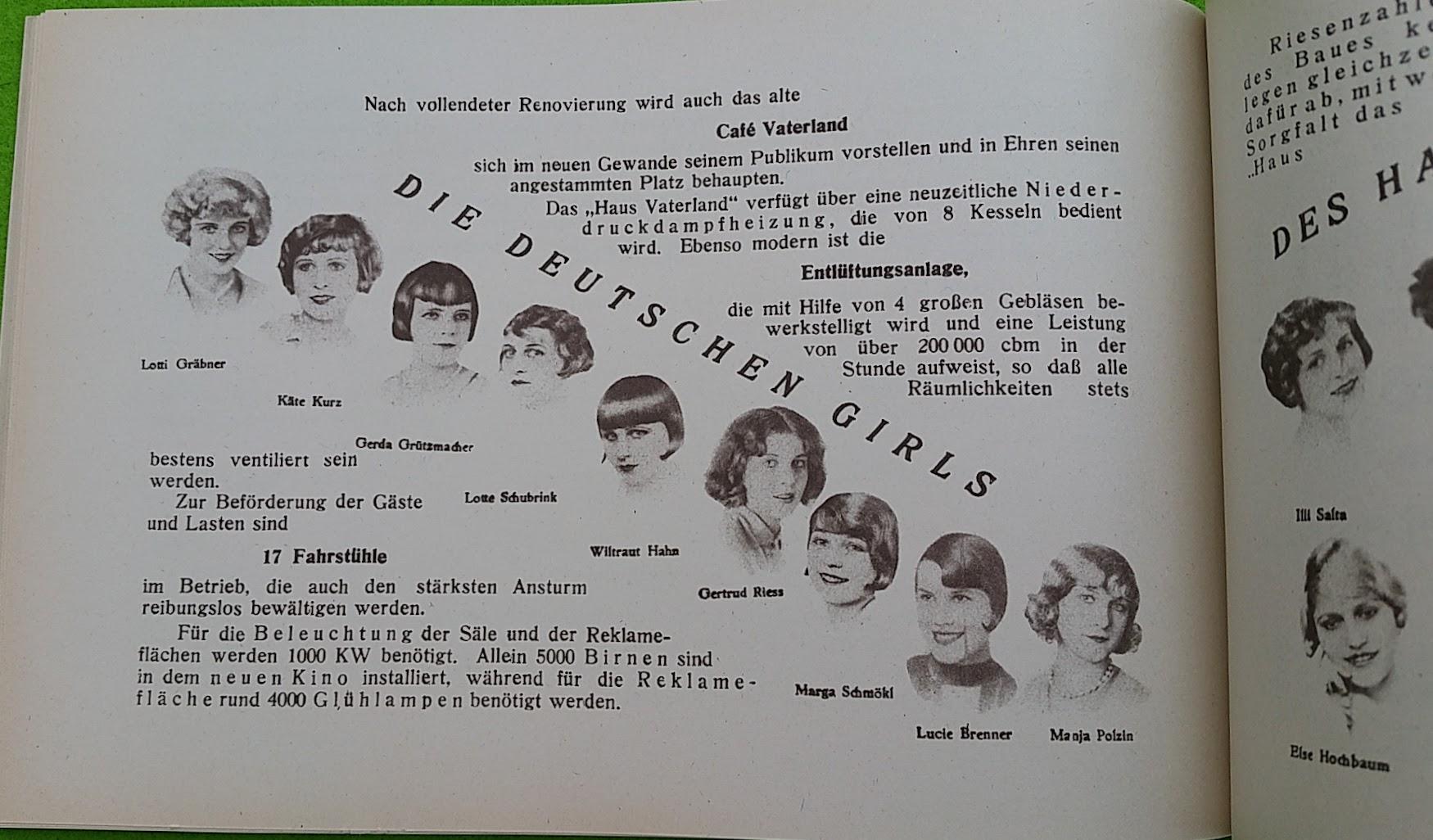 Begleitheft zur Eröffnung von Haus Vaterland am Potsdamer Platz, Berlin, 31. August 1928 - Die Deutschen Girls
