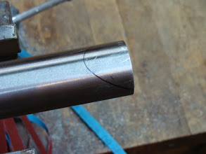 Photo: Making a down tube miter, first I use the lug as a guide and mark the rough outline of the miter.