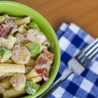 Creamy Shrimp Avocado Bacon Ziti