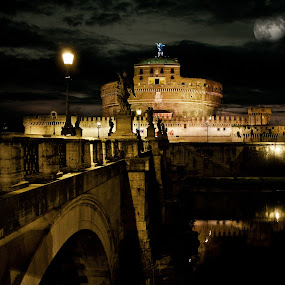 Castel S.Angelo ROMA (ITALY) by Gianluca Presto - City,  Street & Park  Night ( italian, beautiful, architectural detail, beauty, architecture, ponte sant'angelo, castel santangelo, castel s.angelo, roma, sant'angelo castle, italia, rome, castel sant'angelo, artistic, night, castle, bridge, sant'angelo bridge, italy,  )