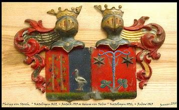 Photo: Allianzwappen von Ph. Storch - H. von Ferber  Die Zündrute (Luntenstock) war mit Hanf umwickelt, das mit Salpeter getränkt und mit Bleizucker gebeizt war. Durch Funkenschlagen brachte man die Lunte zum Glühen und brachte so den Zündfunken zum Zündloch der Kanone.  Postadresse: Büro Kirchgemeinde Zittow Dorfstr.33, 19067 Zittow, Tel.:03866/343   Familienkunde: http://jennus.beepworld.de/